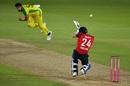 A sharp bouncer from Mitchell Starc hit Joe Denly on the helmet, England v Australia, 3rd T20I, Southampton, September 8, 2020