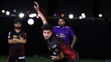 Kuldeep Yadav in his delivery stride