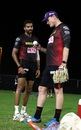 Sandeep Warrier chats to Kyle Mills during training, Abu Dhabi, September 8, 2020