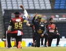 Players and match officials take a knee in Black Lives Matter gesture before the start of the match, St Lucia Zouks v Trinbago Knight Riders, CPL final, Tarouba, September 10, 2020