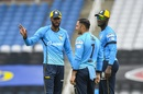 Roston Chase, Mohammad Nabi and Daren Sammy deep in discussion, St Lucia Zouks v Trinbago Knight Riders, CPL final, Tarouba, September 10, 2020