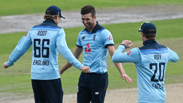 Mark Wood celebrates another England breakthrough