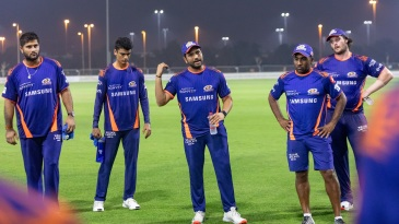 Rohit Sharma leads a Mumbai Indians huddle