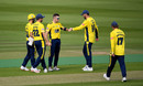 Mason Crane celebrates with his team-mates, Middlesex v Hampshire, Vitality Blast, Lord's, September 12, 2020
