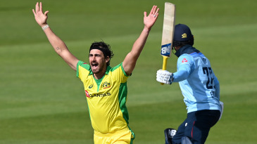 Mitchell Starc of Australia appeals for a wicket