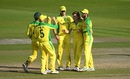Alex Carey, Aaron Finch, Pat Cummins and Glenn Maxwell gather around Adam Zampa after yet another wicket, 2nd ODI, England v Australia, at Emirates Old Trafford, September 13, 2020