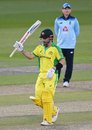 Aaron Finch brings up his half-century, 2nd ODI, England v Australia, at Emirates Old Trafford, September 13, 2020