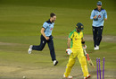 Chris Woakes bowled Glenn Maxwell to continue Australia's slide, 2nd ODI, England v Australia, Emirates Old Trafford, September 13, 2020