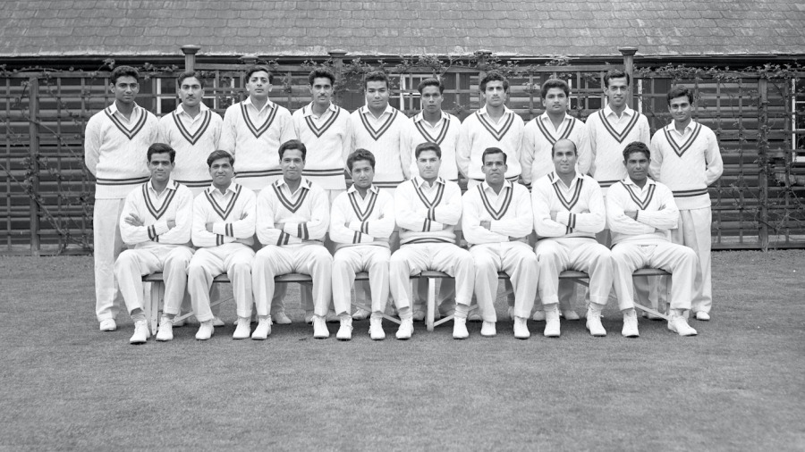 Afaq Hussain (standing, fourth from left) played only four Test innings for Pakistan, but remained unbeaten in all four innings for a total of 66 runs