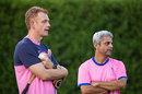 Andrew McDonald, Rajasthan's head coach, with Zubin Bharucha, head of cricket, September 14, 2020