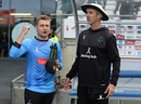 Luke Wright and Jason Gillespie hatch a pre-match plan, Worcestershire v Sussex, T20 Blast, Final, Edgbaston, September 15, 2018