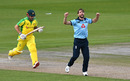 Chris Woakes celebrates taking the wicket of Aaron Finch, England v Australia, 3rd ODI, Emirates Old Trafford, September 16, 2020