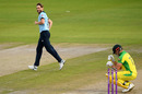 Chris Woakes enjoys taking Marcus Stoinis's wicket, England v Australia, 3rd ODI, Emirates Old Trafford, September 16, 2020