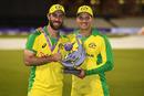 Glenn Maxwell and Alex Carey hold the Royal London One Day Series trophy, England v Australia, 3rd ODI, Emirates Old Trafford, September 16, 2020