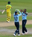 Jos Buttler and Jofra Archer exchange high fives, England v Australia, 1st ODI, Old Trafford, September 11, 2020