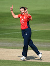 Kate Cross celebrates after dismissing Ashleigh Gardner, 2nd Women's T20I, England v Australia, Hove, July 28, 2019