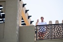 Steven Smith waves from the hotel balcony, Dubai, September 18, 2020