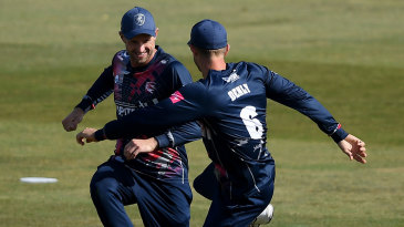 Joe Denly and Alex Blake celebrate another wicket for Kent