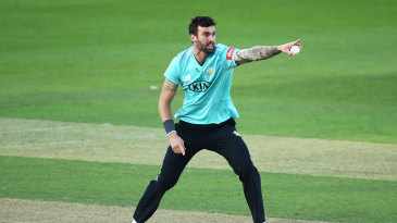 Reece Topley appeals for another wicket for Surrey