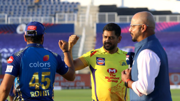 MS Dhoni and Rohit Sharma fist bump at the toss