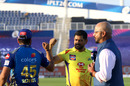 MS Dhoni and Rohit Sharma fist bump at the toss, Mumbai Indians v Chennai Super Kings, IPL 2020, Abu Dhabi, September 19, 2020
