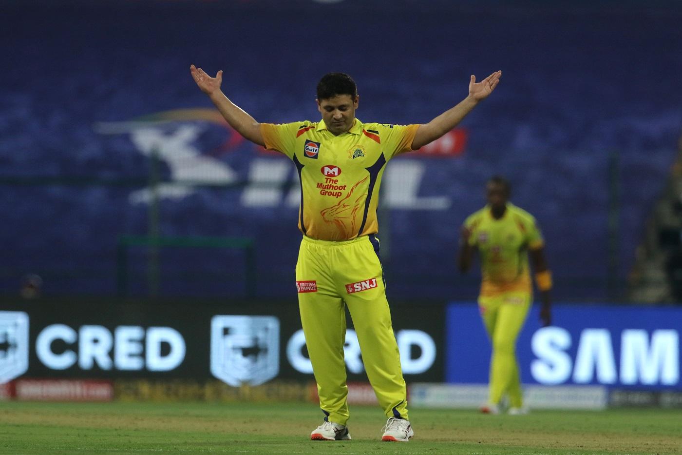 Piyush Chawla celebrates Rohit Sharma's wicket, Chennai Super Kings v Mumbai Indians, IPL 2020, Abu Dhabi, September 19, 2020 ©BCCI