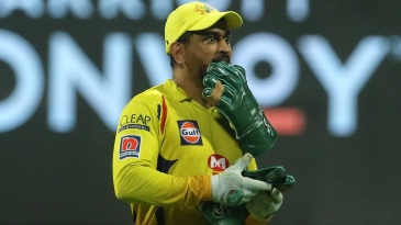 MS Dhoni gestures on the field