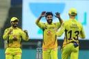 Ravindra Jadeja and Faf du Plessis celebrate, Mumbai Indians v Chennai Super Kings, IPL 2020, Abu Dhabi, September 19, 2020