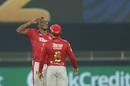 Sheldon Cottrell brings out his signature salute, Delhi Capitals v Kings XI Punjab, IPL 2020, Dubai, September 20, 2020