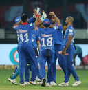 Delhi Capitals celebrate R Ashwin's dismissal of Nicholas Pooran, Delhi Capitals v Kings XI Punjab, IPL 2020, Dubai, September 20, 2020