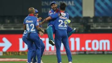 Delhi Capitals celebrate after snatching a Super Over win