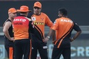 The SRH brains trust - Trevor Bayliss, David Warner, VVS Laxman and Muttiah Muralitharan, Sunrisers Hyderabad v Royal Challengers Bangalore, IPL 2020, Dubai, September 21, 2020