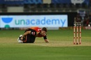 Mitchell Marsh clutches his ankle after taking a tumble, Sunrisers Hyderabad v Royal Challengers Bangalore, IPL 2020, Dubai, September 21, 2020