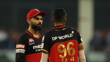 Virat Kohli has a chat with Navdeep Saini