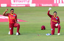 Hayley Matthews and Shemaine Campbelle take a knee at the start of play, England women v West Indies women, 1st T20I, Derby, September 21, 2020