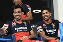 Yuzvendra Chahal and Umesh Yadav find something to smile about, Royal Challengers Bangalore vs Sunrisers Hyderabad, IPL 2020, Dubai, September 21, 2020