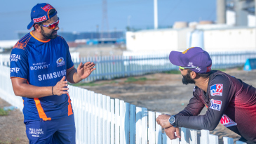 Captains Rohit Sharma and Dinesh Karthik have a chat a day before their match
