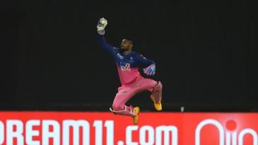 Sanju Samson goes airborne to take a catch