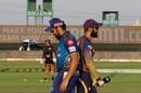Rohit Sharma and Dinesh Karthik at the toss, Kolkata Knight Riders v Mumbai Indians, IPL 2020, Abu Dhabi, September 23, 2020