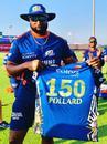 Keiron Pollard celebrates playing his 150th match for Mumbai Indians, Abu Dhabi, September 23, 2020