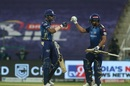 Hardik Pandya and Rohit Sharma chat in the middle, Kolkata Knight Riders v Mumbai Indians, IPL 2020, Abu Dhabi, September 23, 2020