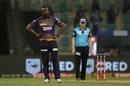 Andre Russell gestures on the field, Kolkata Knight Riders v Mumbai Indians, IPL 2020, Abu Dhabi, September 23, 2020