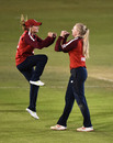 Danni Wyatt celebrates Sarah Glenn's breakthrough, England v West Indies, 2nd women's T20I, Derby, September 23, 2020