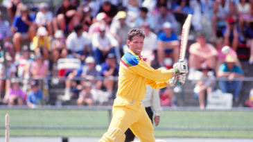Dean Jones on his way to making 90 in a one-run win over India in the 1992 World Cup