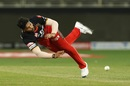 Umesh Yadav is airborne while throwing the ball, Kings XI Punjab vs Royal Challengers Bangalore, IPL 2020, Dubai, September 24, 2020