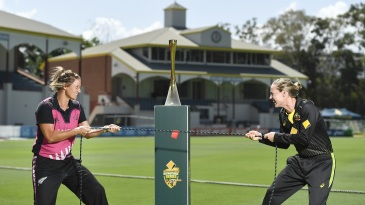 Feelin' the tension: Sophie Devine and Meg Lanning share a light moment
