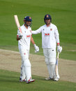 Alastair Cook is congratulated by Tom Westley on his century, Somerset vs Essex, Bob Willis Trophy final, Day 3, Lord's, September 25, 2020