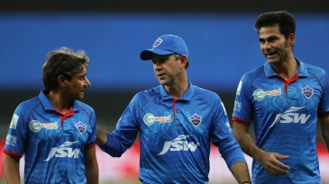 The Delhi Capitals support staff of Vijay Dahiya, Ricky Ponting and Mohammad Kaif have a chat
