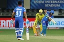 Rishabh Pant works the ball away during his partnership with Shreyas Iyer, Chennai Super Kings vs Delhi Capitals, IPL 2020, Dubai, September 25, 2020