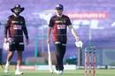 Dinesh Karthik and Eoin Morgan have a chat, Kolkata Knight Riders v Sunrisers Hyderabad, IPL 2020, Abu Dhabi, September 26, 2020